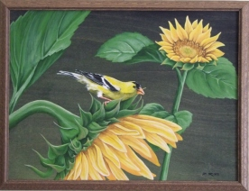 Goldfinch and Sunflowers 20x16