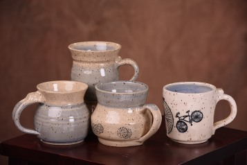 blue and sand mugs